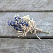 "wedding photo - Buttonhole ""Authenticité"", preserved flower groom accessory for provencal wedding, natural brooch made with lavender, baby's breath and jute"