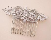 wedding photo - Bridal Hair Comb Silver Art Deco Crystal Floral Bridal Headpiece,  Rose Gold Wedding Hair Comb