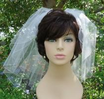 wedding photo - Wedding Veil, Flyaway Veil, Short Bridal Veil, Pencil Edge Veil, 2 Tier Veil, H1050