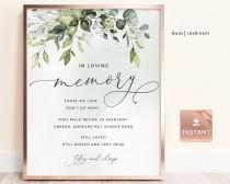 wedding photo - REESE - In Loving Memory Sign, Loving Memory Wedding Sign, Printable In Loving Memory Sign, Eucalyptus Greenery Wedding Memorial Sign