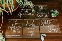 wedding photo - 8x10 Sign Bundle of Guestbook, Gifts and Cards, In Loving Memory, Please Take One Clear Glass Acrylic Modern Calligraphy Wedding Sign, SIG