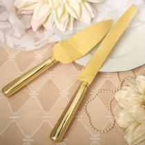 wedding photo - Personalized Smooth Gold Server & Knife Set for Wedding, Anniversary, Party