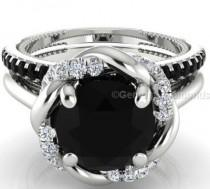 wedding photo - Buy 3.47 Carat Black And White Diamond Engagement Ring