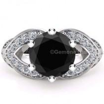 wedding photo - 3.05 Ct Black Diamond Halo Ring Online