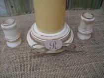 wedding photo - Shabby Chic Wood Wedding Monogram Unity Candle Holder Set - You Pick Color - Item 1560