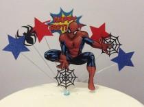 wedding photo - Super Hero Spider Man Birthday cake topper Spiderman