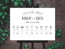 wedding photo - Black and White Barn Wedding Welcome and Order of the Day Sign