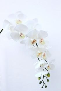wedding photo - JennysFlowerShop 40'' Latex Phalaenopsis Orchid Real Touch Flower Single Spray w/11 Beautiful Blooms Wedding Home Decorations