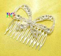 wedding photo - Crystal Bow Wedding Hair Comb