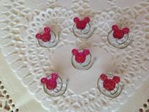 wedding photo - 6 Mickey Mouse Hair Swirls-Disney Flower Girl-Cinderella Gift- Hair Coils-Bright Pink Hidden Mickeys