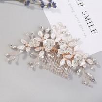 wedding photo - Rose Gold Hair Comb Hair Clip Bridal Hair Piece Floral Gold Wedding Hair Accessories Gold Leaf