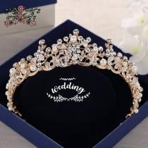 wedding photo - Rose Gold Brides Tiara with Crystals-Brides Hair Accessories,Bridal Hair Jewellery-Wedding Crown-Tiaras for Brides-Prom Tiara-princess Crown