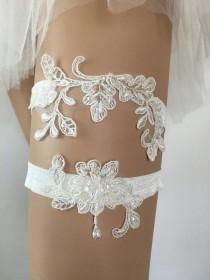 wedding photo - Lace garters for wedding garter belt garter set bridal toss garter lace garter charm ivory garter bride garters wedding belt