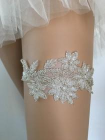 wedding photo - Silver beaded Bridal lace garter, wedding garter, Bridal Gift Garter silver garter, pearl garter for wedding garter Embelishment garter