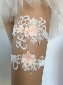 wedding photo - Lace garters for wedding garter belt garter set bridal toss garter lace garter charm ivory peach blush garter bride garters wedding belt