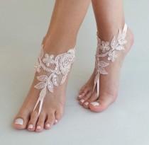 wedding photo - 24 Color Blush barefoot sandals, Lace barefoot sandals, Wedding anklet, Beach wedding barefoot sandals ,Bride Bridesmaid gift, Beach Shoes