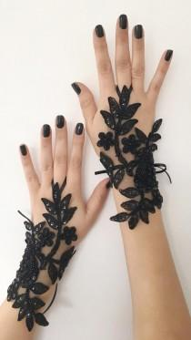 wedding photo - Black lace glove french lace bridal gloves, fingerless gloves black glove burlesque glove guantes steampunk glove goth wedding