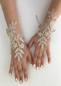 wedding photo - Wedding Gloves, Bridal Gloves, Champagne lace gloves, Handmade gloves, Ivory bride glove bridal gloves lace gloves fingerless gloves