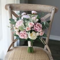 wedding photo - Blush Pink Artificial Rose & Peony Bridal Bouquet, Greenery Wedding Bouquet, Wedding Flowers Silk Bouquet Bride Silk Flowers Artificial Faux