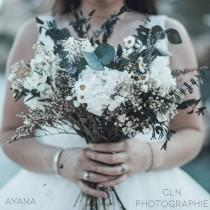 """wedding photo - Bridal bouquet """"Fréjus"""", dried and preserved flowers, bohemian wedding bouquet with natural flowers, white hydrangea and eucalyptus bouquet"""