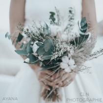"wedding photo - Bouquet ""Nice""with dried and preserved flower, winter wedding bouquet, cotton flower bouquet, Best gift idea 2nd wedding anniversary"