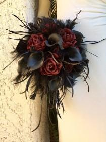 wedding photo - Custom Wedding Bouquet - Sola Wood Flowers in Dark Red, Black Calla Lily, Monkeys Tail, Branches, Feathers, Lace, Gothic Halloween Bride