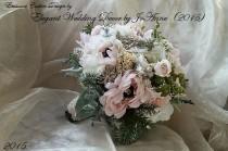 wedding photo - RUSTIC WEDDING BOUQUET, Vintage Jeweled Wedding Bouquet, Silk flower Winter Green Bouquet, Rustic Brooch Bouquet-Deposit