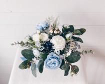 wedding photo - Wedding bouquet, Dusty Blue Bouquet, Bridal Bouquet, Blue Wedding Bouquet, Eucalyptus Bouquet