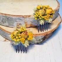 wedding photo - Dried flower hair comb