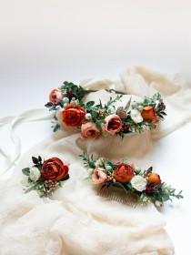wedding photo - Boho flower hairpiece, Burnt orange crown, Coral floral headpiece, Bridal flower crown, Fall wedding, Rustic wedding hairpiece, Orange crown