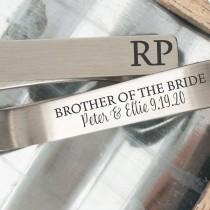 wedding photo - Brother Of The Bride Gift Brother Tie Clip Gift For Brother Tie Clip Bride's Brother Tie Bar Wedding Party Tie Clip Personalized Initials