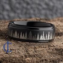 wedding photo - Fir Tree Forest Mens Wedding Band – Nature Tungsten Ring Wedding Band Mens – Unique Forest Wedding Band