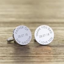 wedding photo - Personalised Engraved Silver Father of the Groom or Bride Wedding Cufflinks