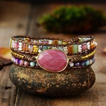 wedding photo - Rhodochrosite Bracelet - Healing Stone Bracelet - Natural Stone Beaded Bracelet- Leather Wrap Bracelet - Rhodochrosite Beads Bracelet