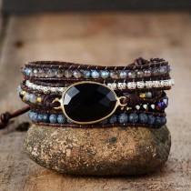 wedding photo - Black Onyx Stone Bracelet-Natural Raw Gemstone Healing Bracelet-Leather Wrap Chakra Protection Bracelet-Yoga Meditation Balance Bracelet