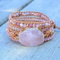 wedding photo - Rose Quartz Bracelet Healing Crystal-Leather Pink Stone Wrap Bracelet with Beads-Natural Healing Stone Bracelet-Rose Quartz Beads Bracelet