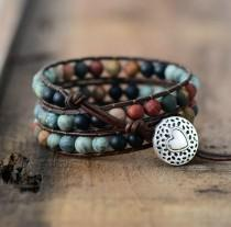 wedding photo - Chakra Bracelet Adjustable - Leather Wrap Bracelet - Jasper Beads Bracelet - Healing Stone Bracelet - Natural Gemstone Love Bracelet