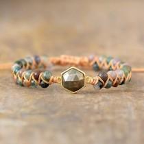wedding photo - Natural Pyrite Stone Healing Bracelet-Spiritual Balance Meditation Grounding Calming Bracelet-Inner Peace Mental Health Energy Bracelet Gift