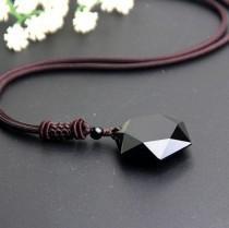 wedding photo - Black Hexagonal Obsidian Necklace-Spiritual Grounding Energy Protection Necklace-Obsidian Pendant-Black Obsidian Stone Necklace Pendant