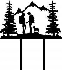 wedding photo - Wedding Cake Topper Couple Back Packing Hiking Mountains with Heeler FREE Personalization Laser Cut