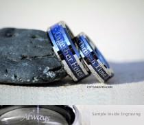wedding photo - 6MM And 8MM Doctor Who Inspired Tungsten Wedding Set, Free Inside Engraving