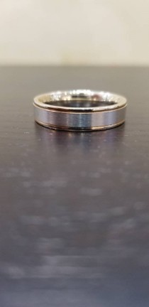 wedding photo - 14K white and yellow gold men's wedding band 5MM wide Brush and shiny finish combination