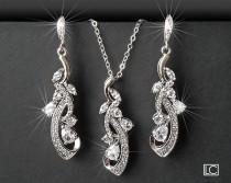 wedding photo - Bridal Jewelry Set, Wedding Floral Earrings&Necklace Set, Chandelier Earrings Pendant Set, Bridal CZ Silver Jewelry, Bridal Party Gift