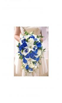 wedding photo - Real Touch Royal Blue Picasso Calla Lilies Royal Blue Ivory Roses White Tiger Lilies, Eucalyptus Hops Ruscus Thistle Cascade Bridal Bouquet