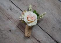 wedding photo - Wine Cork Boutonniere - Peach Rose and Succulent Boutonniere with Berries