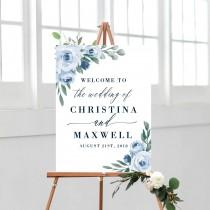 wedding photo - Dusty Blue Wedding Welcome Sign Template, Printable Welcome Sign, Wedding Welcome Signs, Instant Download, Welcome Signs, Templett, 118