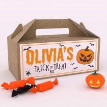 wedding photo - Personalised Halloween Trick or Treat Fun Party Gift Favour Box Party Candy Bag