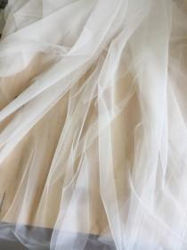wedding photo - 3 Meters Wide Off White Soft Flowy Tulle FAT Quarter for Bridal Veils Gown, Garters, Embroidery, Costumes
