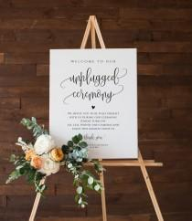 wedding photo - Unplugged Ceremony Sign, Wedding Unplugged Poster Sign Template, Printable Wedding Sign, 5 Sizes, Edit with TEMPLETT, WLP-ELE 1148
