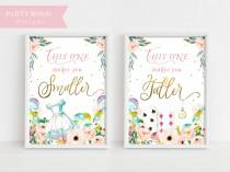 wedding photo - Alice In Wonderland Party Signs, Smaller Taller Party Sign, Decor Onederland Girl's 1st Birthday Party Invitation, Mad Tea Party, Decoration